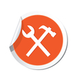 tools icon orange sticker vector image vector image