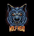 warewolf head angry face artwork vector image vector image