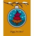 Greeting card with glass ball and Christmas tree vector image
