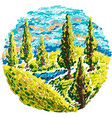 rural landscape with trees and hills vector image