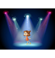 A young dancer at the center of the stage vector image vector image