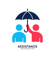 assistance and protection logo work people sign vector image vector image