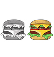 big hamburger vector image