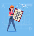 cartoon female builder carpenter hold checklist vector image vector image