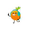 cartoon orange party character vector image vector image