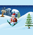 cartoon santa claus skiing with sack of gifts on s vector image