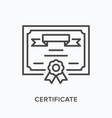 certificate line icon outline vector image vector image
