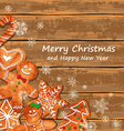 Christmas greeting card with gingerbread cookies vector image vector image