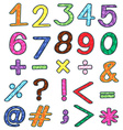 Colourful numbers and mathematical operations vector image