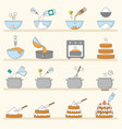 cooking stages tasty cakes preparation baked vector image