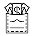 corruption money in pocket icon outline style vector image vector image