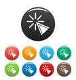 cursor click icons set color vector image