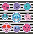 cute set of smile emoticons stickers with striped vector image