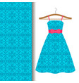 dress fabric with blue arabic pattern vector image vector image