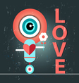 funny love with a robot vector image vector image