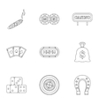 Gambling house icons set outline style vector image
