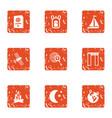 gps satellite icons set grunge style vector image
