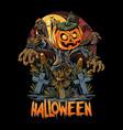 halloween scarecrow and pumpkins artwork vector image vector image