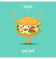 Happy Hamburger Cartoon Character Waving vector image