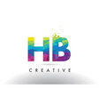 hb h b colorful letter origami triangles design vector image vector image