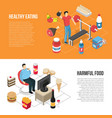 healthy unhealthy lifestyles isometric banners vector image vector image