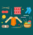 knitting set textile handicrafts with red vector image