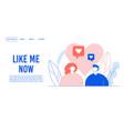 like time social network life landing page design vector image