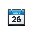 March 26 Calendar icon flat vector image vector image