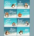merry christmas snow snowfall weather penguins set vector image vector image