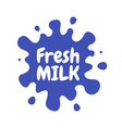 milk emblems and dairy labels with splashes and vector image vector image