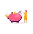 piggy bank money savings banner - cartoon woman vector image vector image