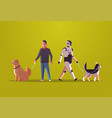 robotic character and man walking with dogs robot vector image vector image
