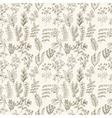 seamless pattern flowers herbs and leaves vector image vector image