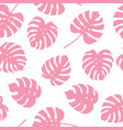 seamless pattern of pink monstera leaves vector image