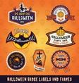 set halloween badge label and frames design vector image vector image