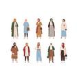 set modern arabic women wearing fashion clothes vector image