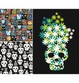 Set of with cute skulls and flowers vector image vector image