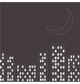 Silhouette of the night city Dash line moon vector image vector image