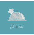Silver platter cloche and chefs hat Scribble effec vector image vector image
