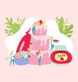 sweets production concept tiny people team bake vector image vector image