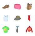 types clothes icons set cartoon style vector image vector image