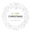 wreath christmas of icons symbols of the new year vector image