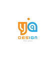 ya y a orange blue alphabet letter logo vector image vector image