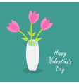 Happy Valentines Day Love card Bouquet of pink vector image