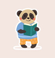 adorable little smiling panda student vector image vector image
