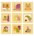 assembly flat icons education school lessons vector image vector image