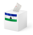 Ballot box with voting paper Lesotho vector image vector image