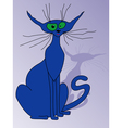 Blue cat sitting vector image vector image