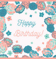 blue rose garden ditsy floral happy birthday vector image