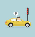 businessman confusing with red traffic light vector image vector image